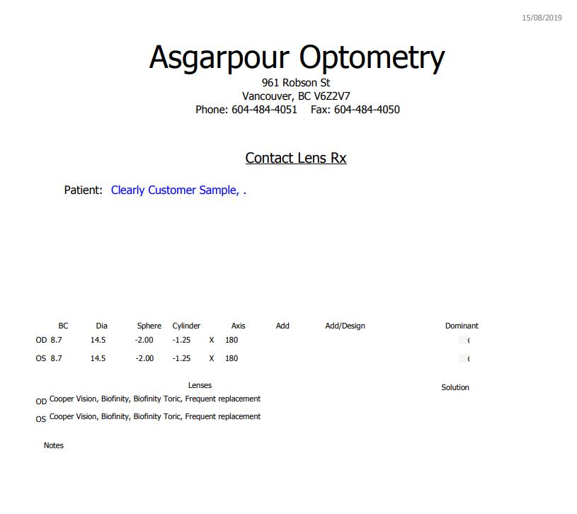 Contact Lenses Prescription Sample