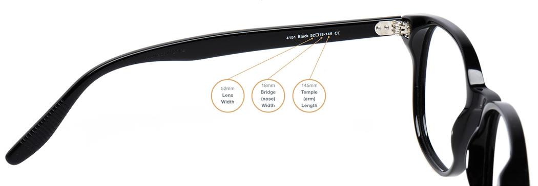Glasses temple arm measurements